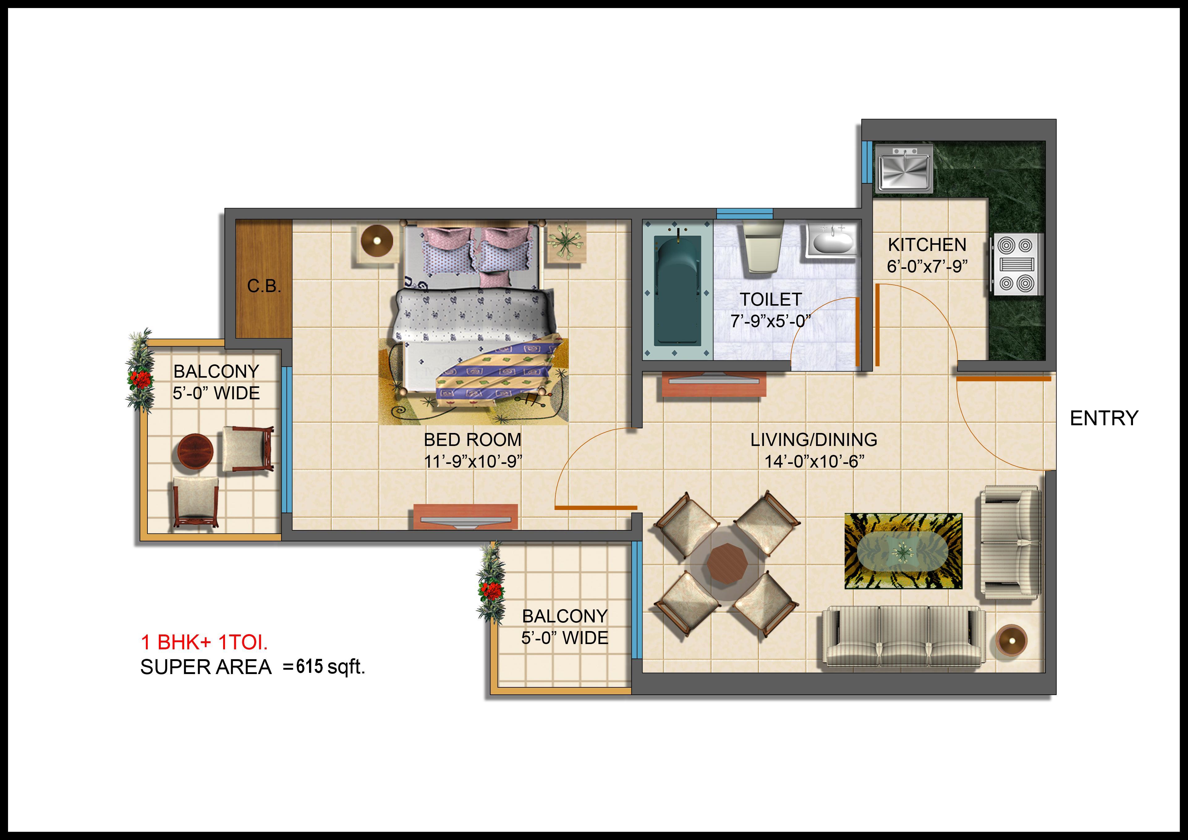 One-BHK-floor-plan-Taj-Wellington-sector-75-Noida