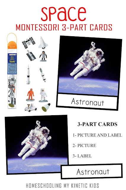 Learn about space exploration as you explore and play with Safari Ltd Space toob.  Free printable matching cards for the toob.