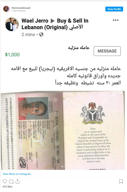 UPDATE: Lebanon Set To Prosecute Citizen Who Put Nigerian Woman Up For Sale On Facebook