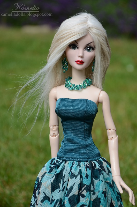 Sea blue dress for doll