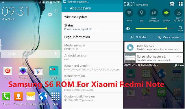 Samsung S6 ROM For Xiaomi Redmi Note 3G (ROM Review+Download