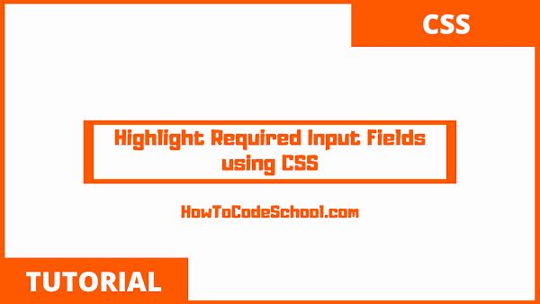 Highlight Required Input Fields using CSS