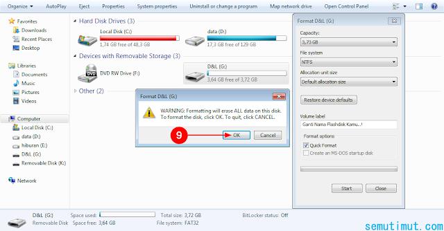 cara format flashdisk pada laptop