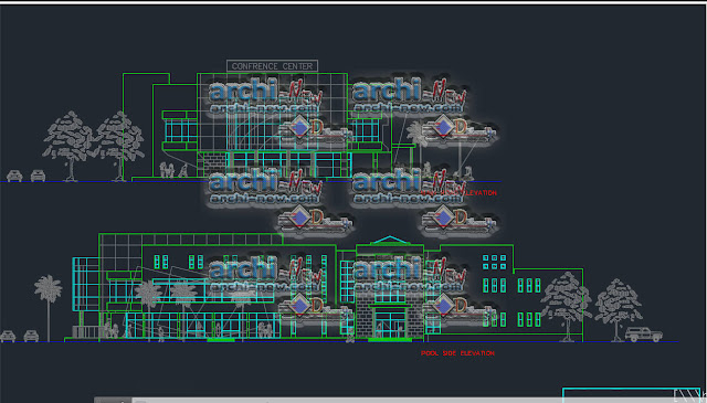 Building Conference Hall Section freecad Dwg