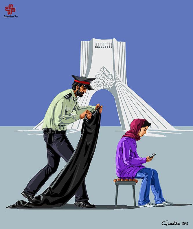 Ilustraciones satíricas de oficiales de guardia alrededor del mundo