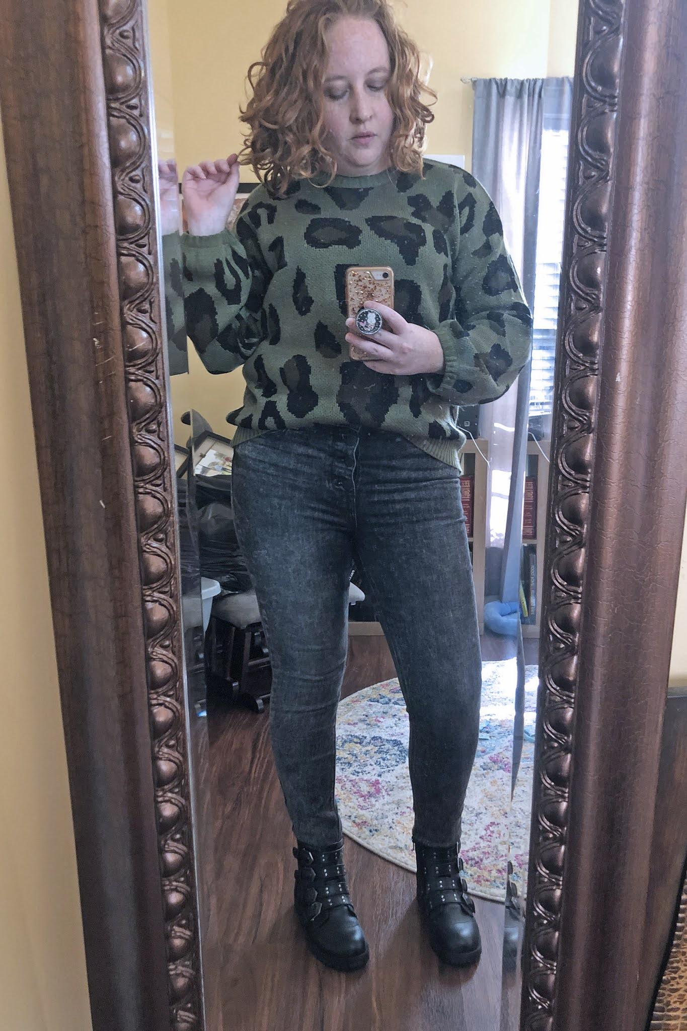 green leopard sweater black button fly jeans moto boots