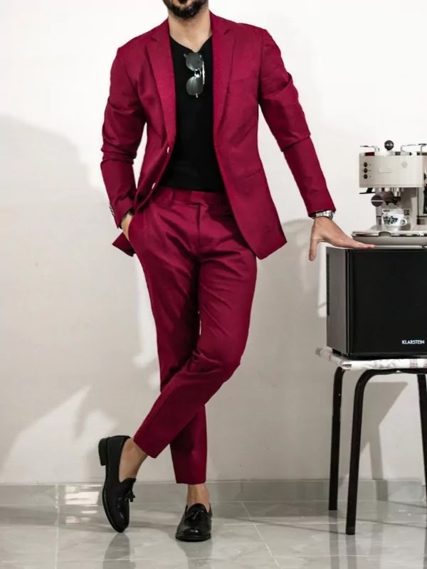 Maroon colour with black shirt.