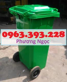 Thùng đựng rác công cộng 120L, thùng rác 2 bánh xe, thùng rác nhựa HDPE 120 Lít TR120L2