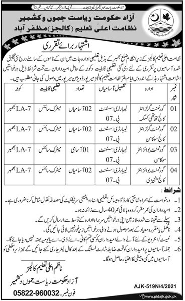AJK Higher Education Department Jobs 2021 in Pakistan