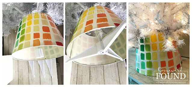 art class,Christmas,Christmas Decor,Christmas Decor Themes,Christmas tree,color,color palettes,colorful home,crafting,paper crafts,DIY,diy decorating,holiday,tutorial,Christmas tree skirt,diy Christmas tree skirt,paint chips,paint chip crafts,decorating with paint chips,paint chip Christmas decor,merry and bright Christmas decor,homewardFOUND,homewardFOUND decor