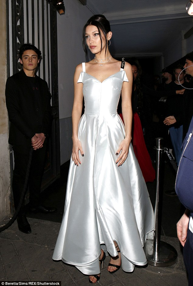 Bella Hadid wears sweeping ballgown at the Dior Paris Fashion Week Show Afterparty