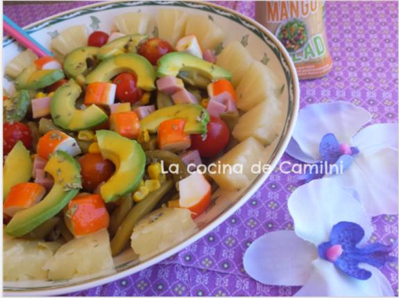 Ensalada tropical con salsa de mango (La cocina de Camilni)