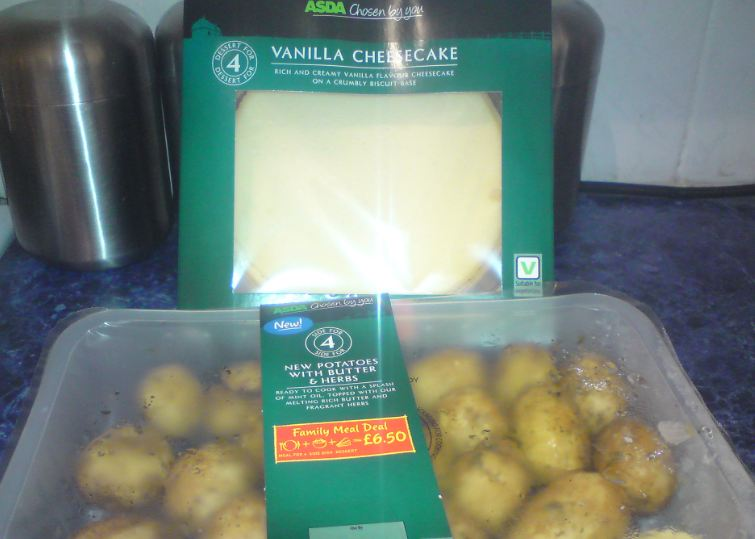 A photo of New potatoes and Cheesecake from Asda