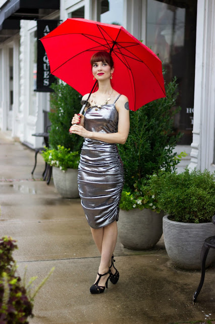 How to wear metallics Silver Metallic One Shoulder Midi Dress - Viola from FemmeLuxeFinery.co.uk