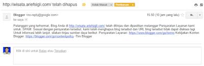 """Bukti Gmail terkena banned"""