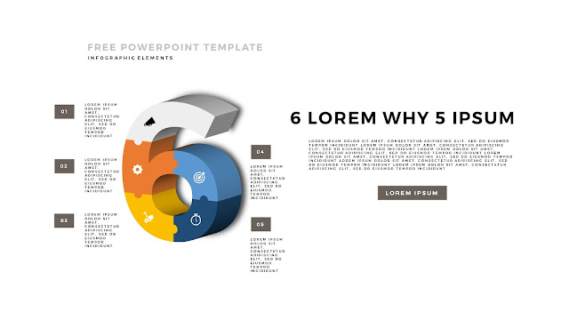 3D Puzzle Infographic Elements For PowerPoint Template with Number 6 in White Background