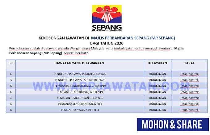 Jawatan Kosong Terkini di Majlis Perbandaran Sepang (MP Sepang)