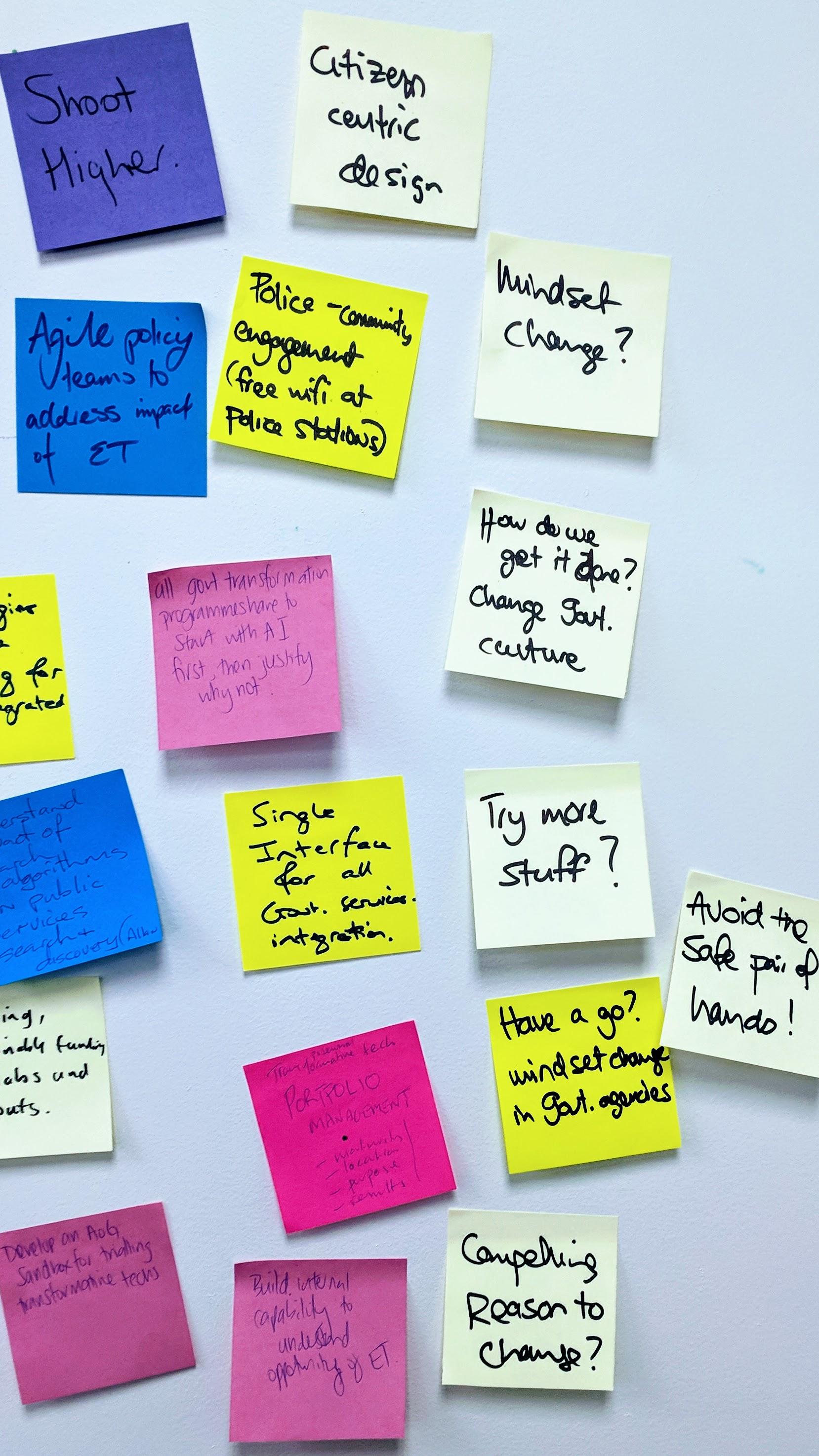 Civil servant dreams.on Post-It notes