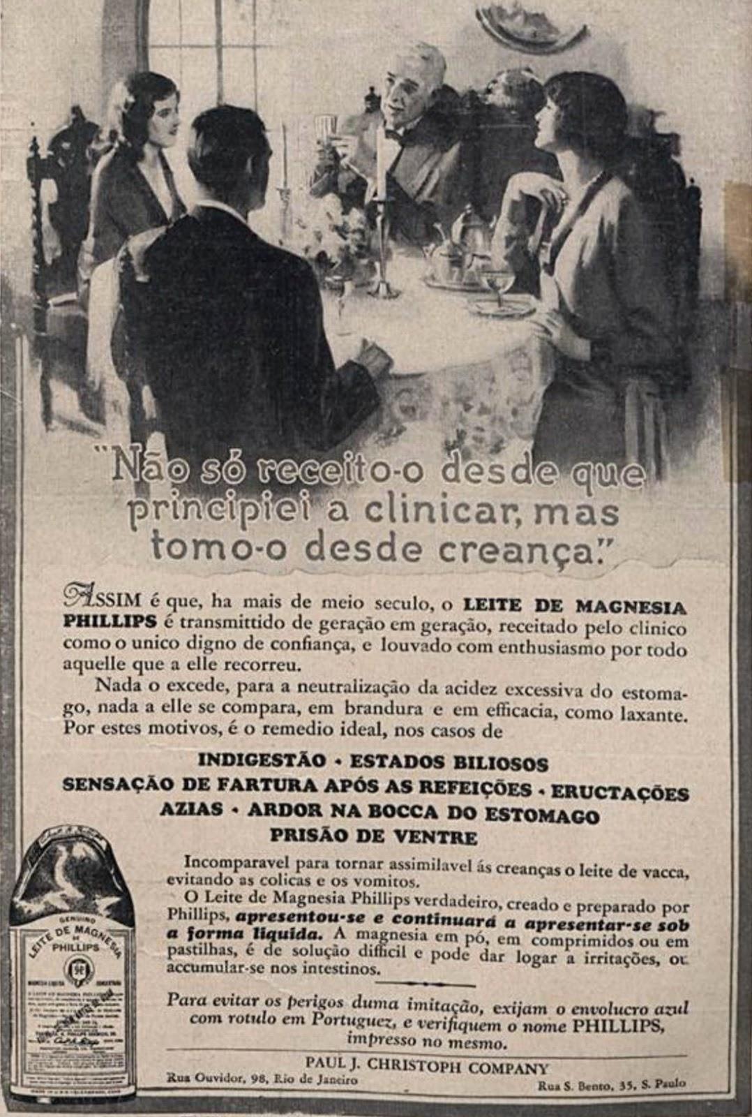 Propaganda antiga do Leite de Magnésia veiculada em 1930
