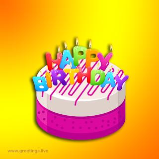 """""""Happy birthday"""" wishes in English & Birthday cake happy birthday alphabet candles"""