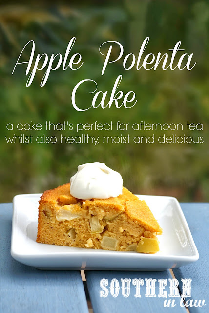 Healthy Apple Polenta Cake Recipe with Creme Fraiche - Gluten free, low fat