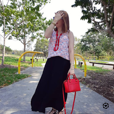 awayfromblue Instagram black maxi skirt with leaf print tank red accessories and rebecca minkoff bag summer Christmas party mum outfit