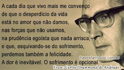 O Desperdício da Vida - Frases de Carlos Drummond de Andrade
