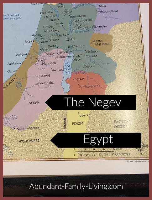 Map of the Negev Area and Egypt