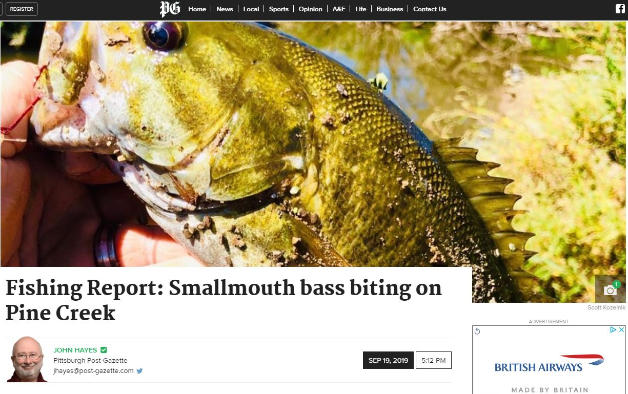 Fishing Report: Smallmouth bass biting on Pine Creek