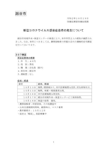 新型コロナウイルス感染症患者の発生について(10月19日発表)