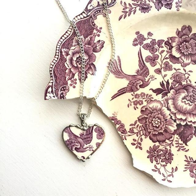 Broken china bird pendant by Laura Love