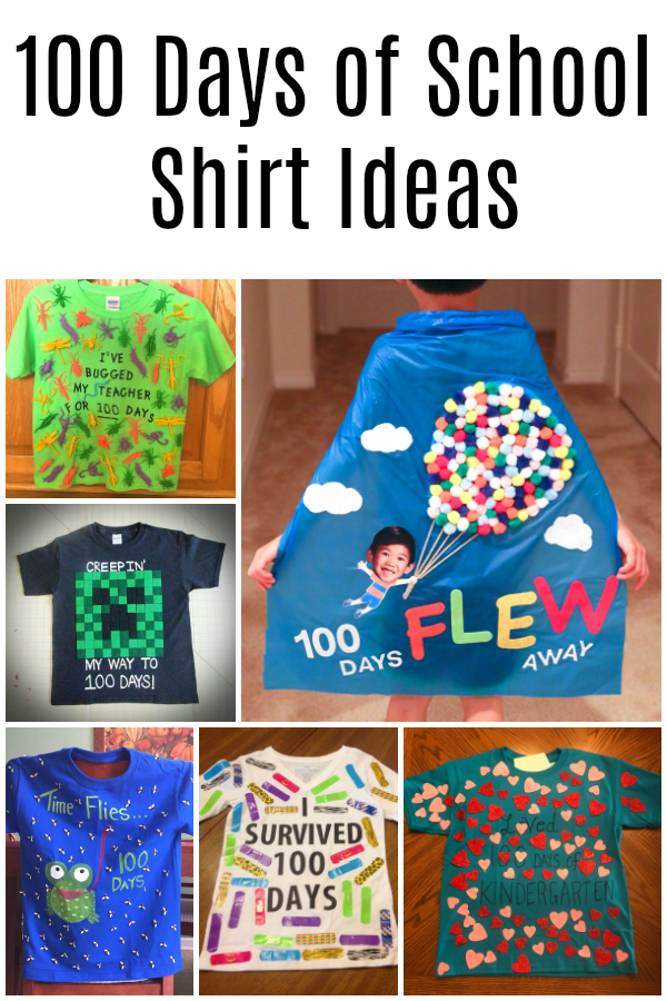 100 days of school shirt ideas for kindergarten, preschool, & more