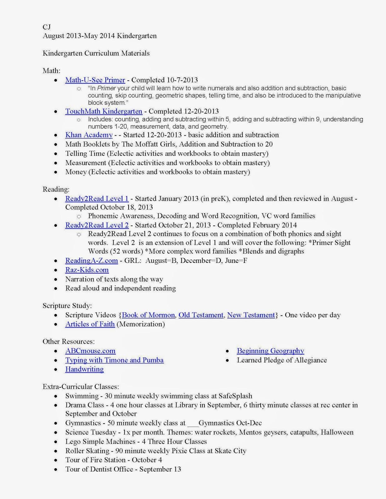 Blog+Kindergarten+Curriculum+Report+2013 2014 Page 1 - Homeschool Curriculum Kindergarten