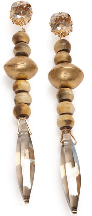 Ralph Lauren Swarovski Drop Earrings Grey Multi