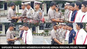 Miliki Prestasi Serta Berdedikasi Tinggi, 8 Polisi Ini Terima Reward Dari Kapolres Tanah Karo