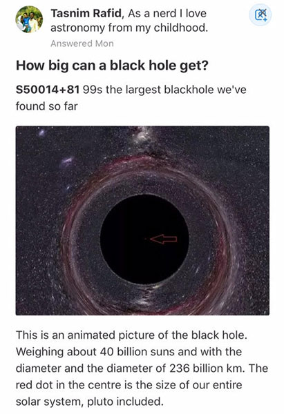 Largest know black hole (Source: Tasnim Rafid, as posted on Twitter feed)