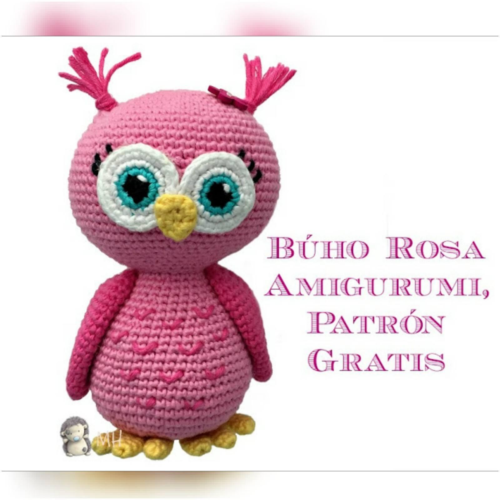 Amigurumislandia: Búho rosa amigurumi