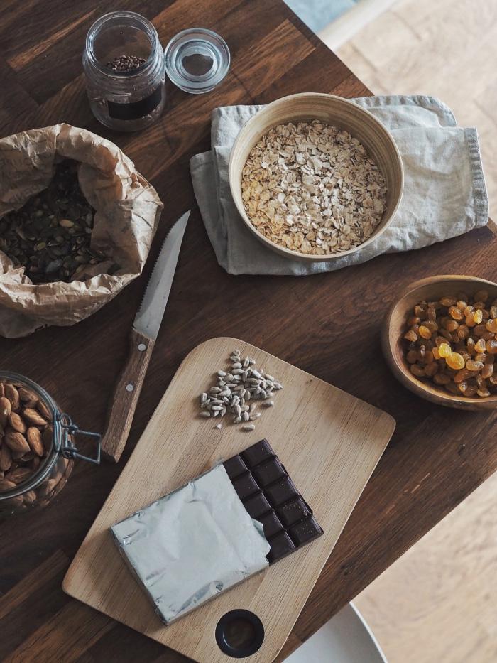 Ingrédients pour une recette de granola maison