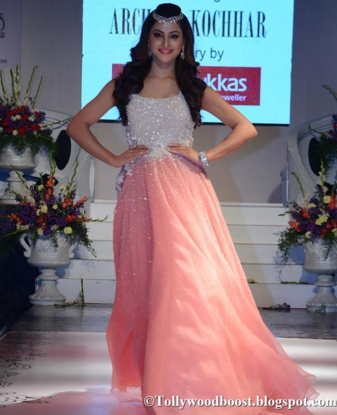 Indian Model Urvashi Rautela Fashion Show Ramp Walk In Pink Dress