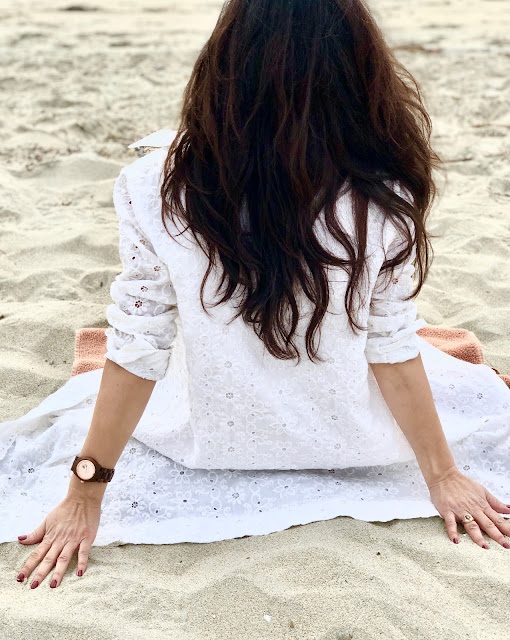 Beach Rose gold Jord Wooden Watch White Eyelet Joanna Joy A Stylish Love Story Blog California Fashion Lifestyle Blogger