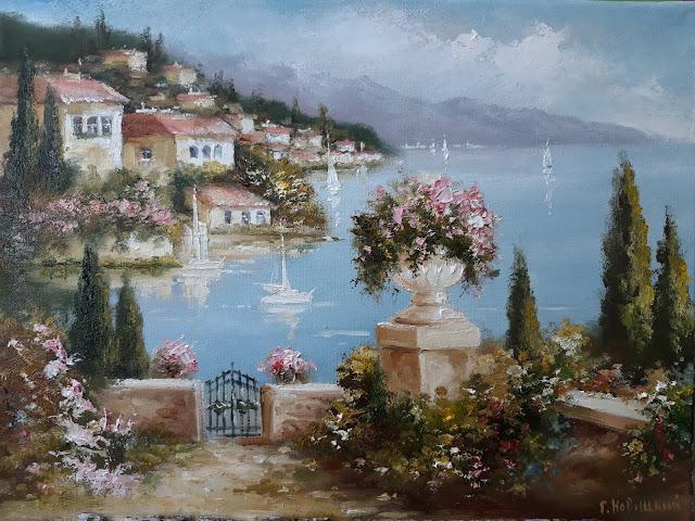 Картина 30х40см. Цветы в вазе на фоне моря
