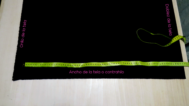 Colocación de la tela para cortar el patrón en doblez