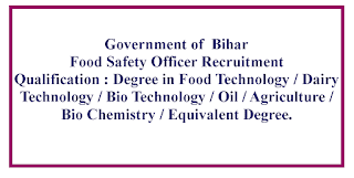 Food Safety Officer Recruitment - Government of  Bihar