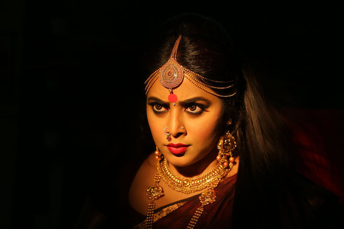 Beautiful Kerala Actress Poorna Telugu Movie Posters In Maroon Saree