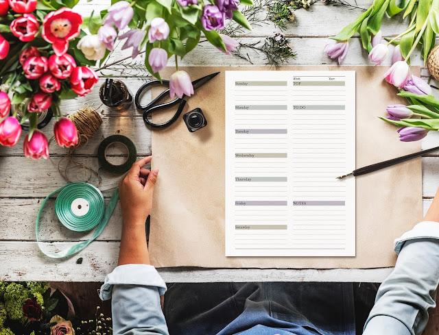printable minimalist undated weekly planner