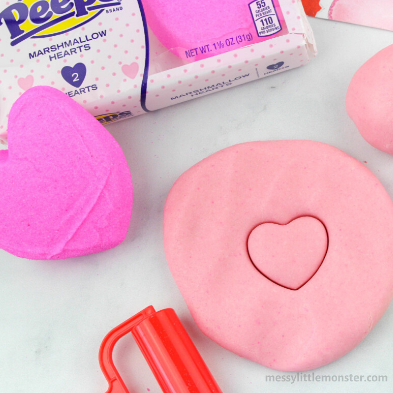 edible peeps playdough heart activity for toddlers