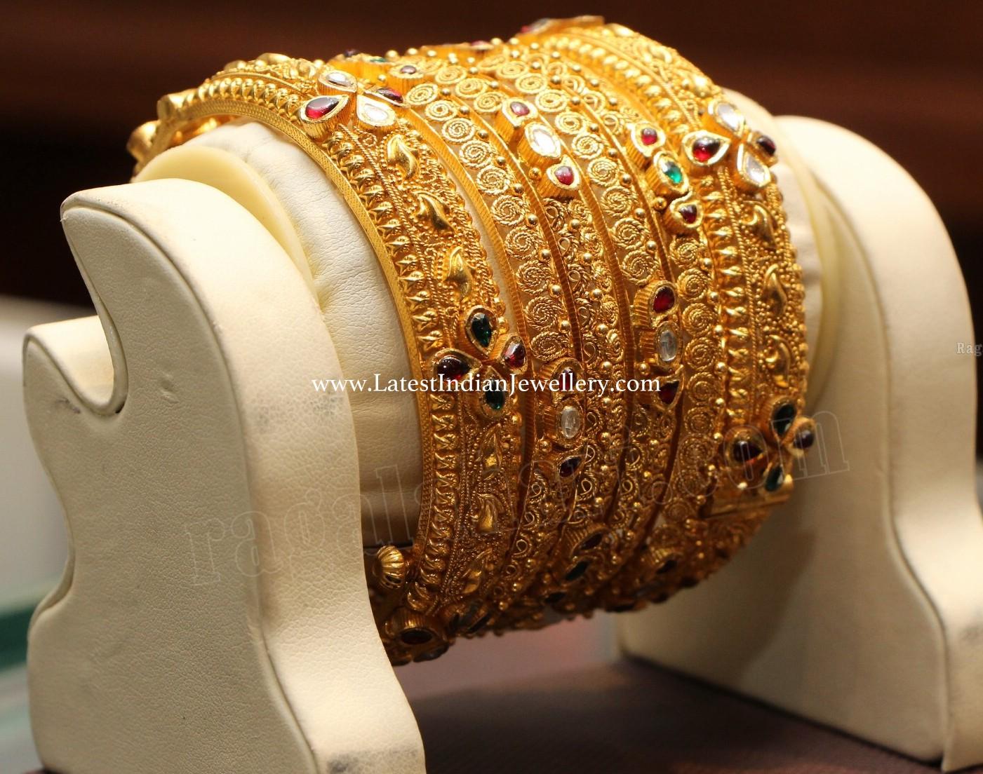 Kundans Studded Gold Bangles