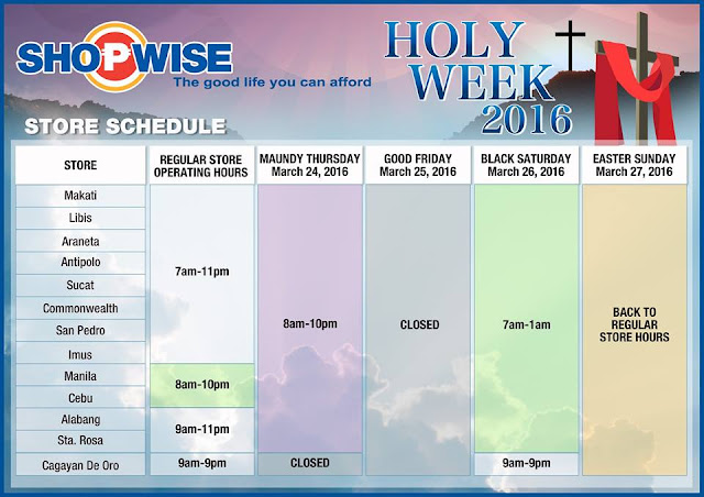 Shopwise Holy Week 2016 schedule