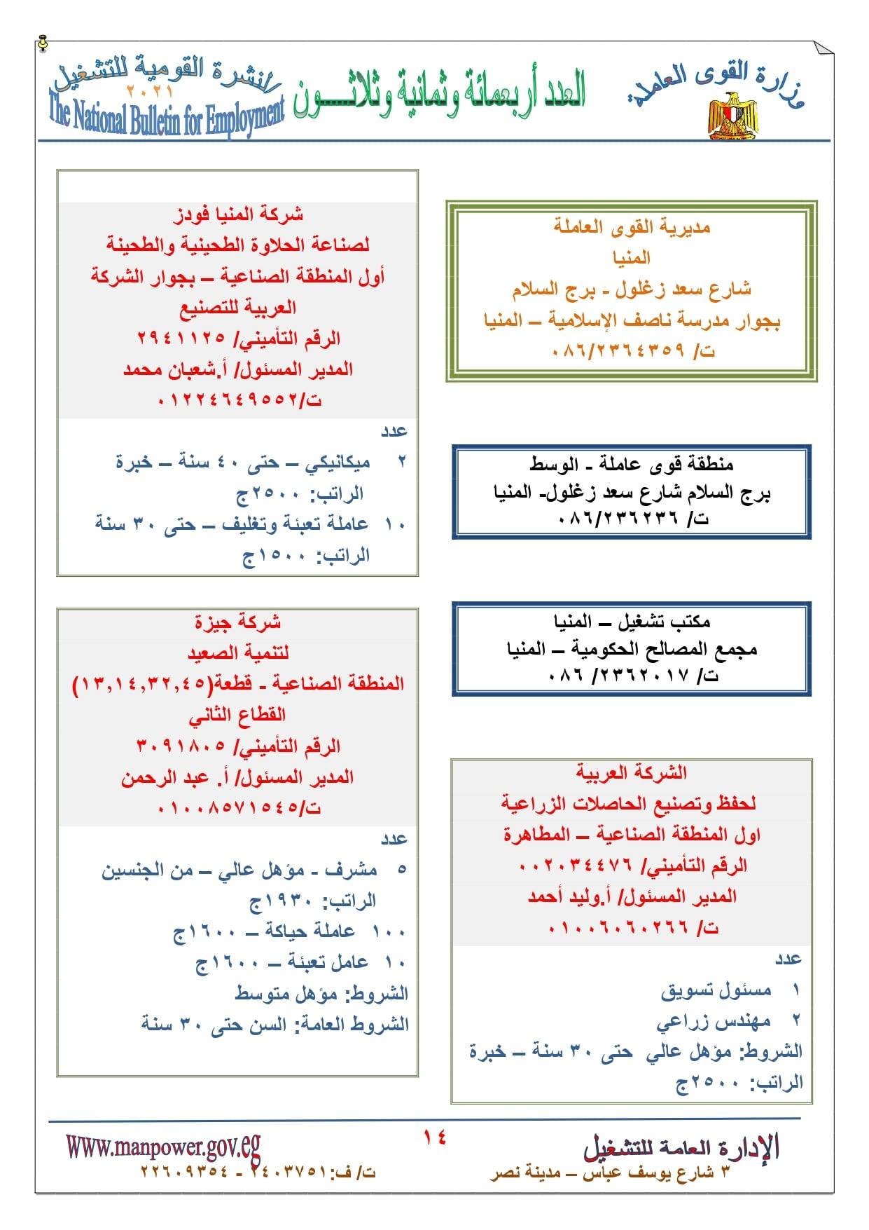 بمرتب 9 الاف جنية.. الاعلان عن وظائف خالية بـ وزارة القوى العاملة جميع المؤهلات والتخصصات نشرة سبتمبر واكتوبر 2021 في المحافظات المصرية