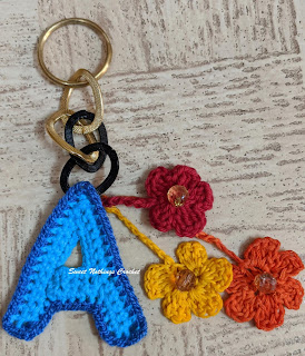 Sweet Nothings Crochet free crochet pattern blog, free crochet pattern for alphabet keychains, photo of the alphabet keychains,
